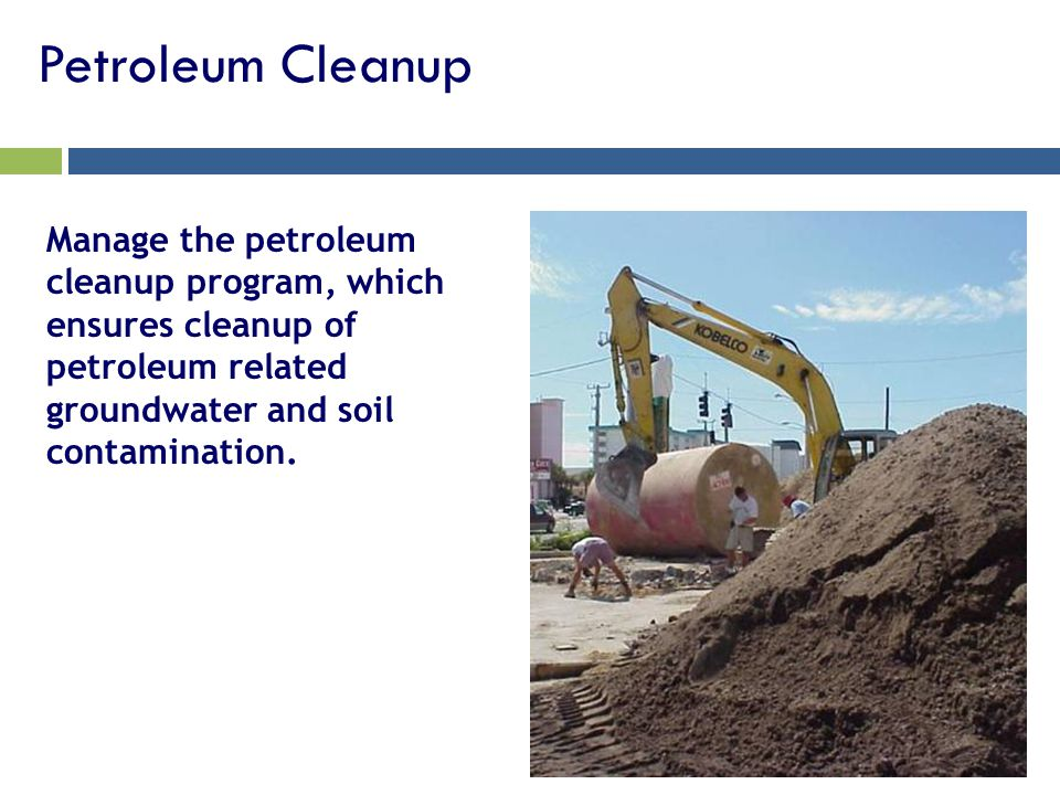 Petroleum Cleanup Manage the petroleum cleanup program, which ensures cleanup of petroleum related groundwater and soil contamination.