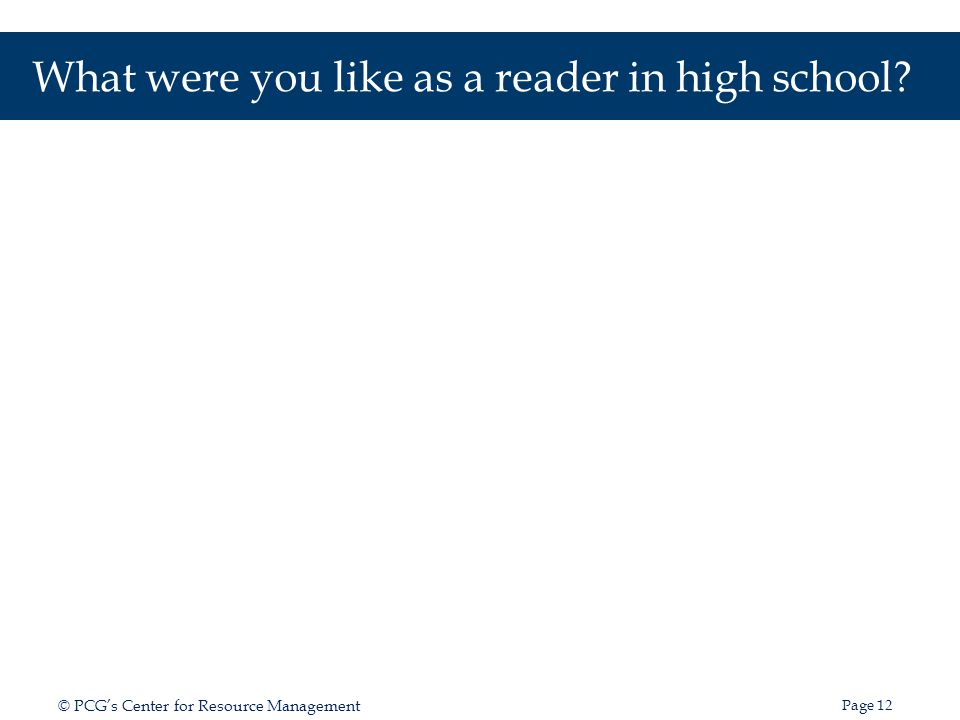 What were you like as a reader in high school
