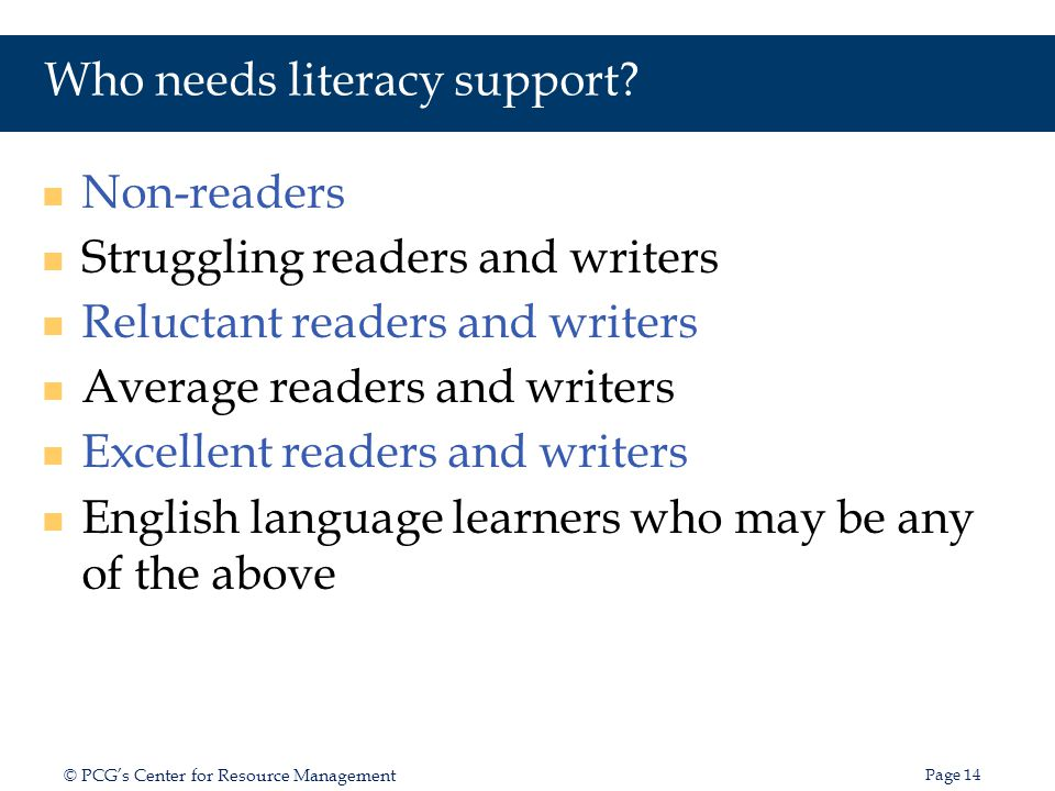 Who needs literacy support