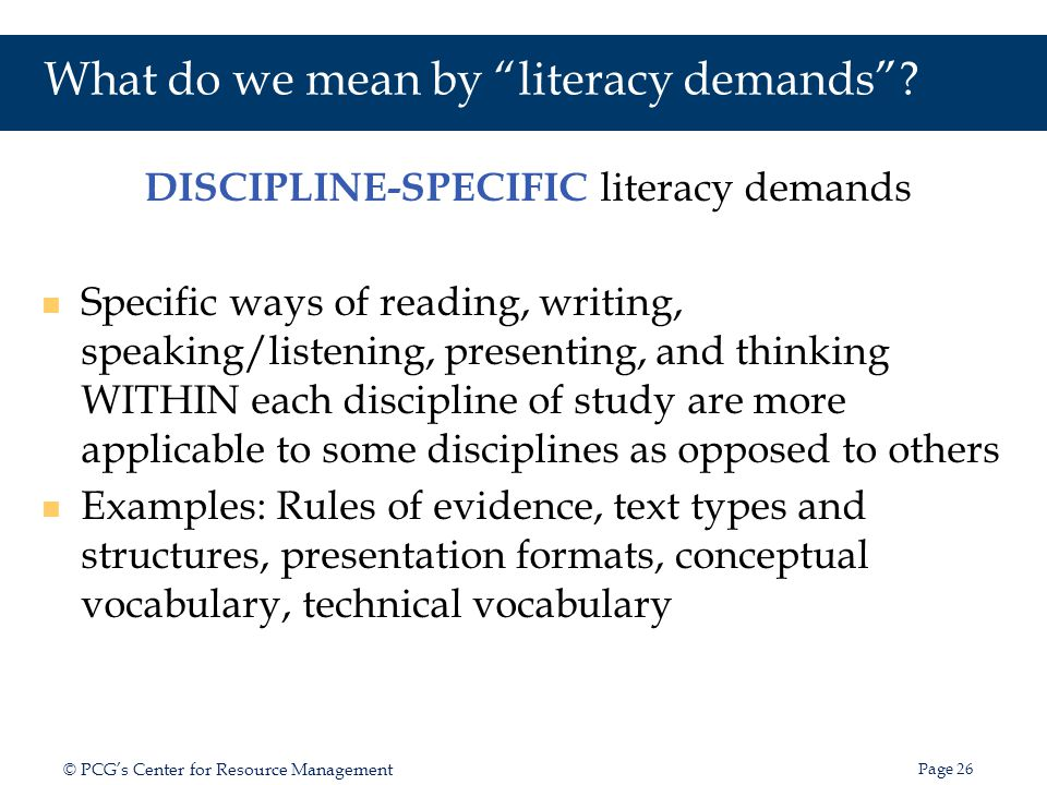 What do we mean by literacy demands