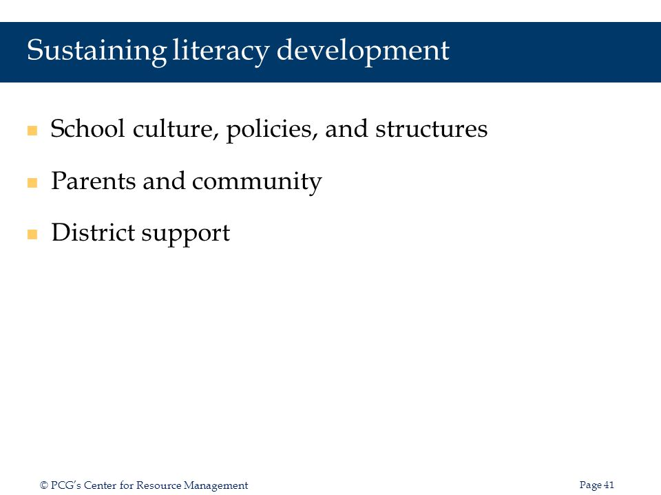 Sustaining literacy development