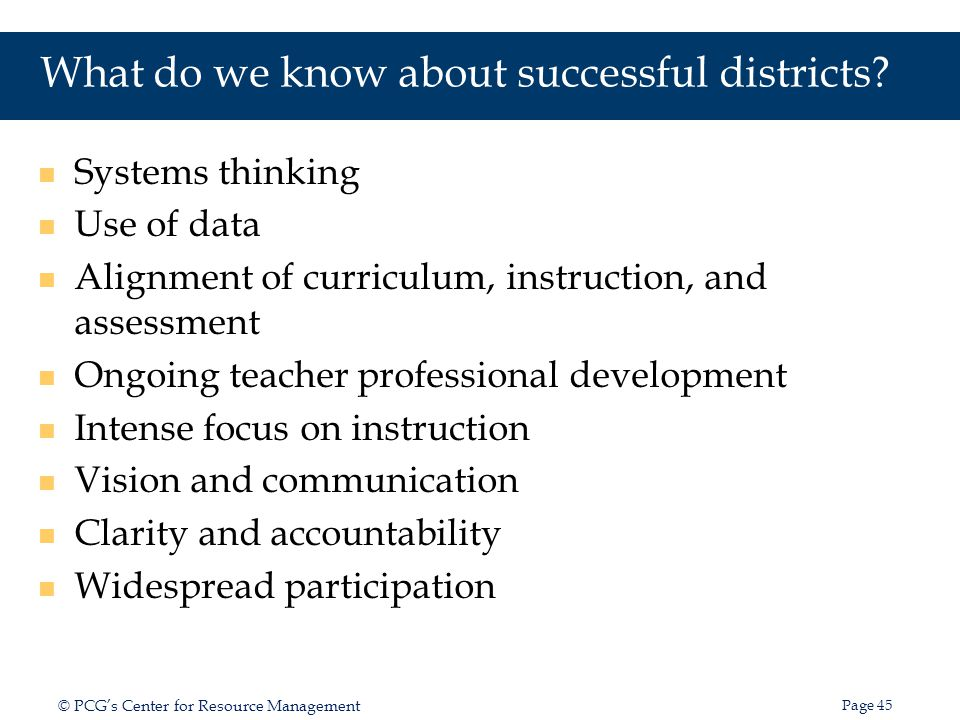 What do we know about successful districts
