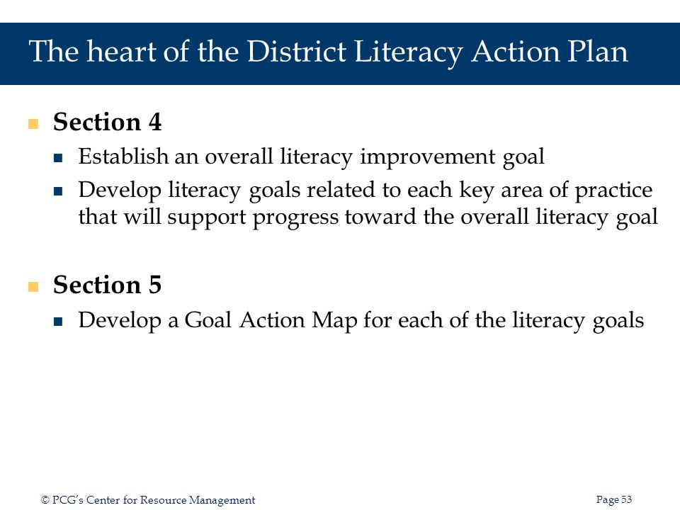 The heart of the District Literacy Action Plan