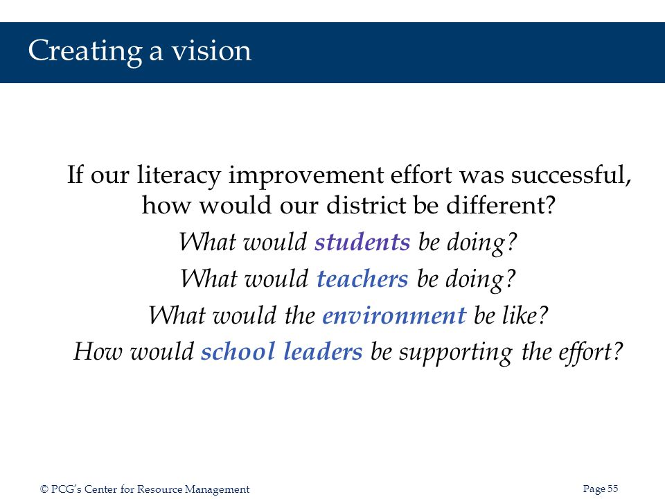 Creating a vision If our literacy improvement effort was successful, how would our district be different