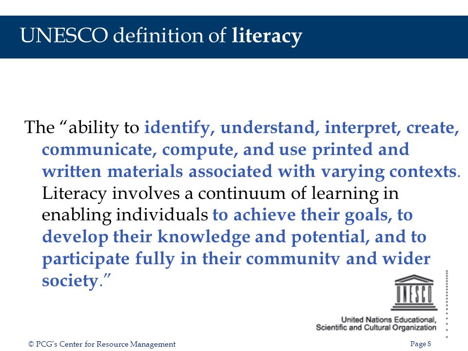 UNESCO definition of literacy
