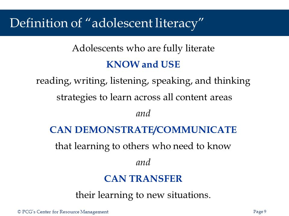 Definition of adolescent literacy