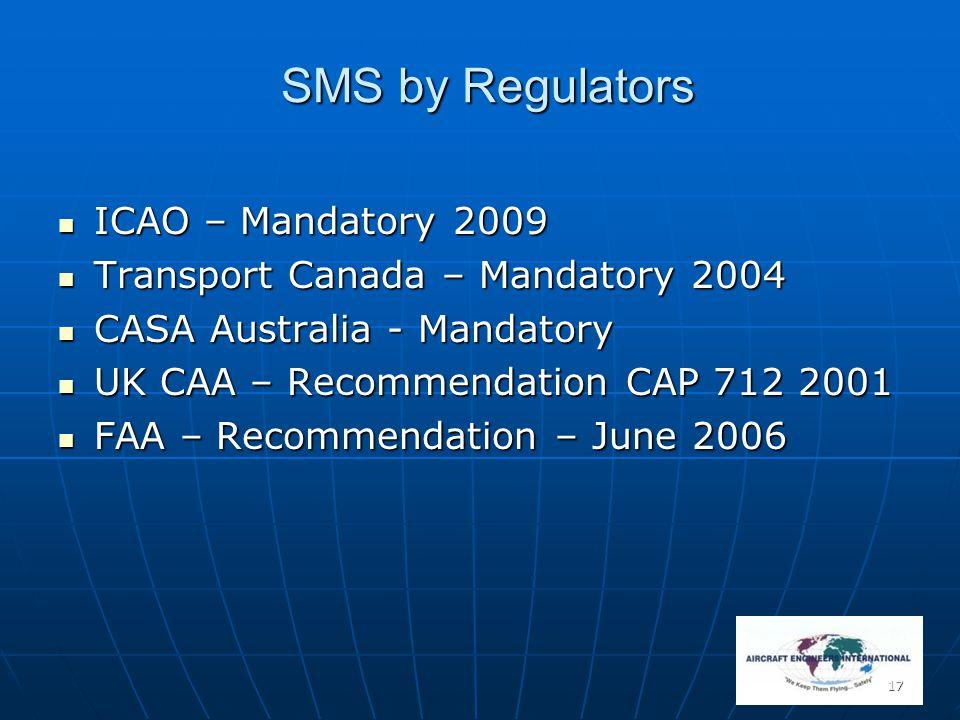 SMS by Regulators ICAO – Mandatory 2009