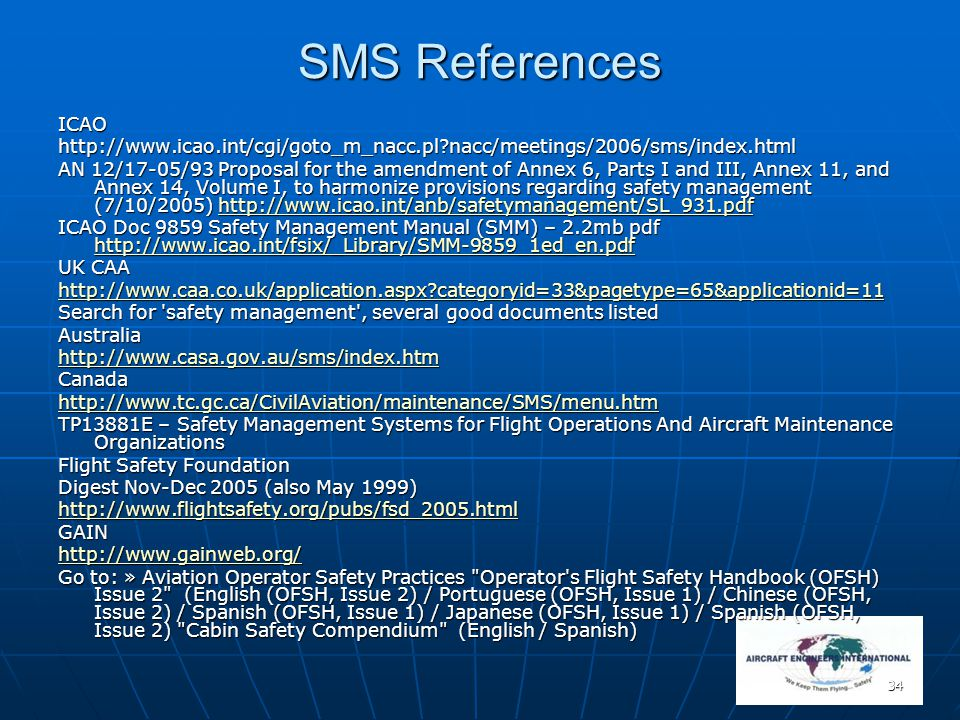 SMS References ICAO. http://www.icao.int/cgi/goto_m_nacc.pl nacc/meetings/2006/sms/index.html.