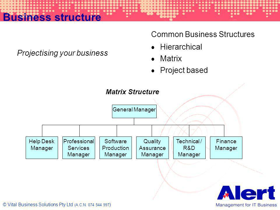 Business structure Common Business Structures Hierarchical Matrix