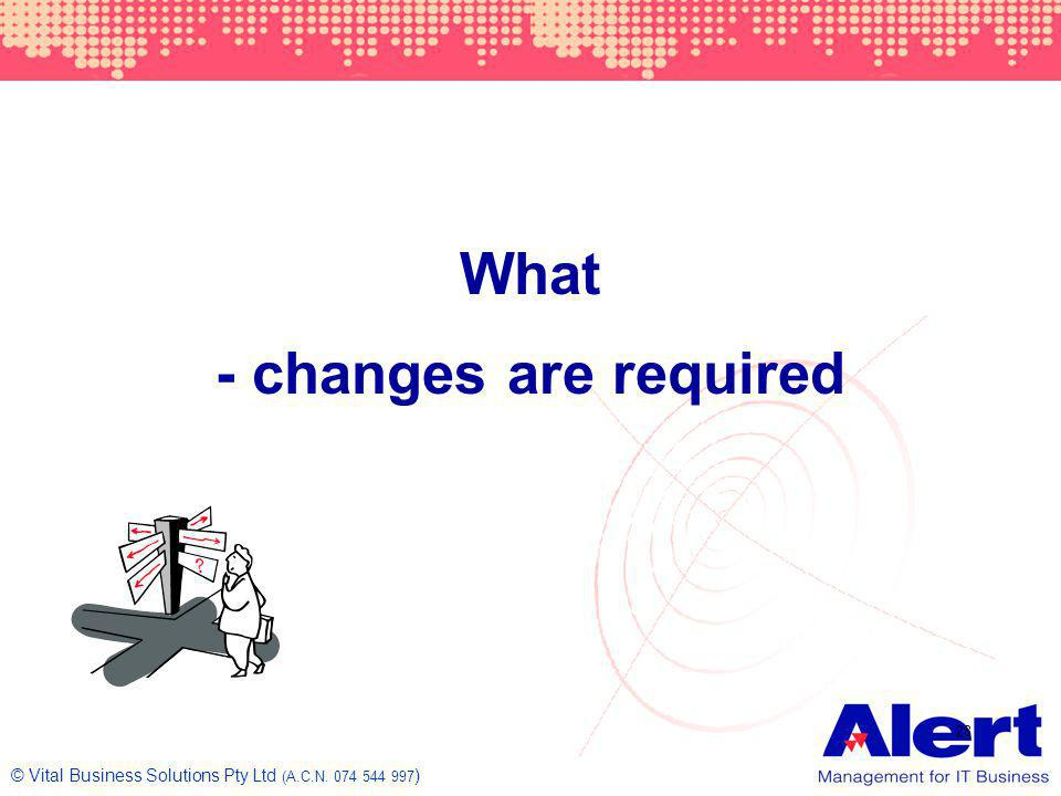 What - changes are required