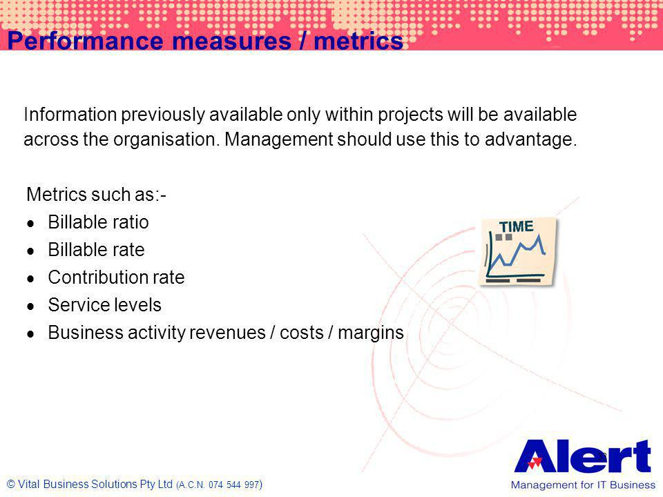 Performance measures / metrics