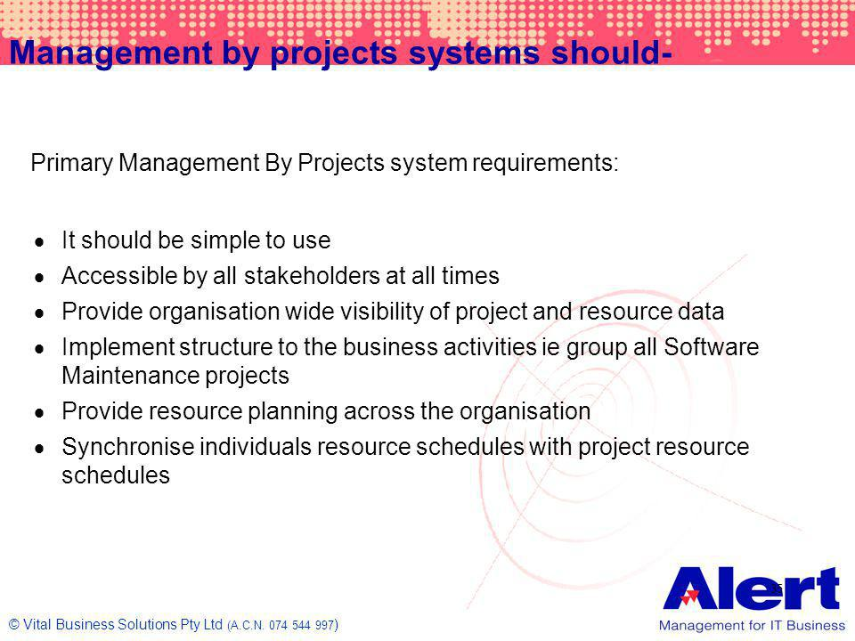 Management by projects systems should-