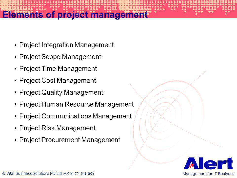 Elements of project management