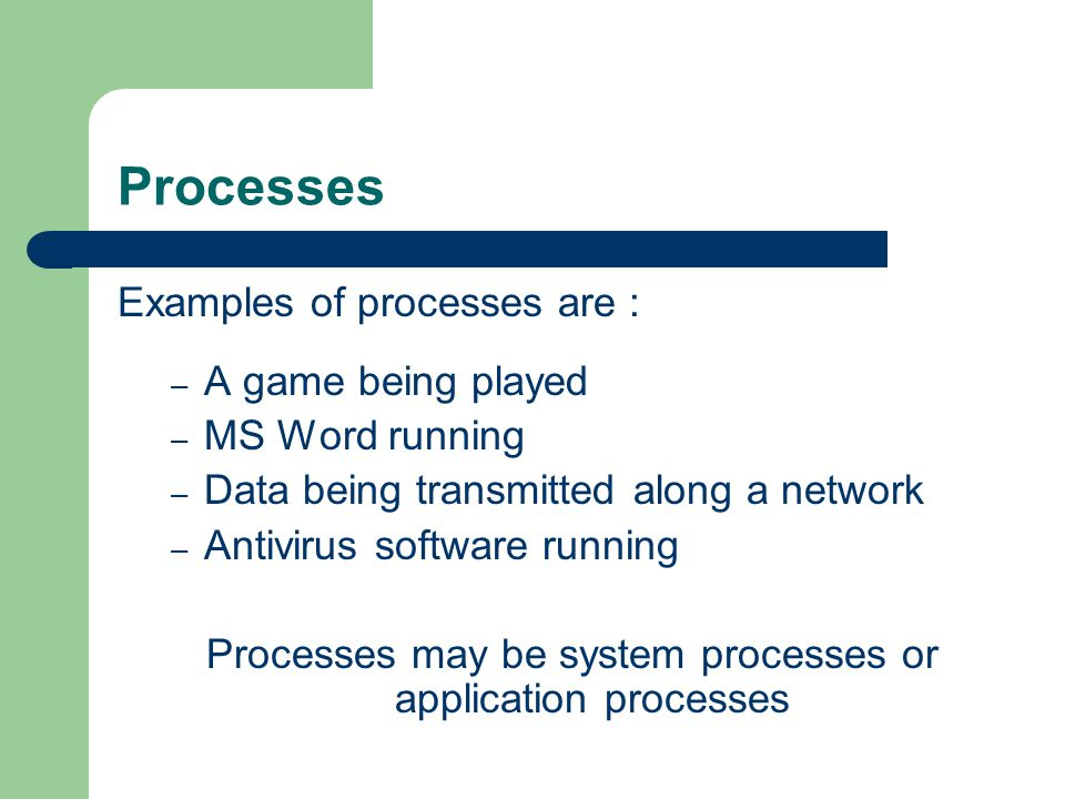 Processes may be system processes or application processes