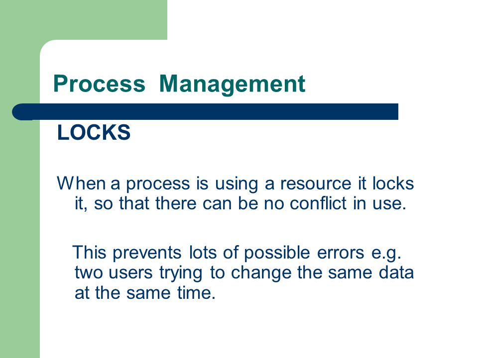 Process Management LOCKS