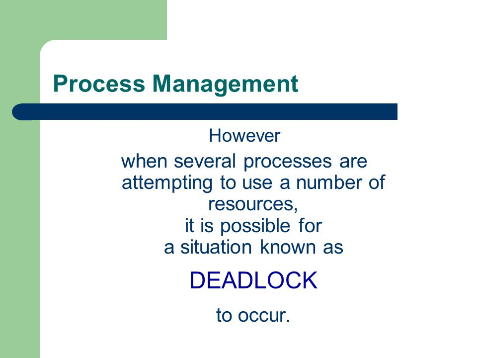 Process Management However.