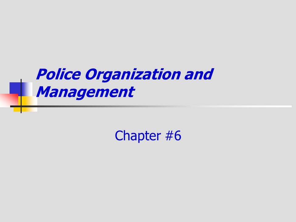 Police Organization and Management