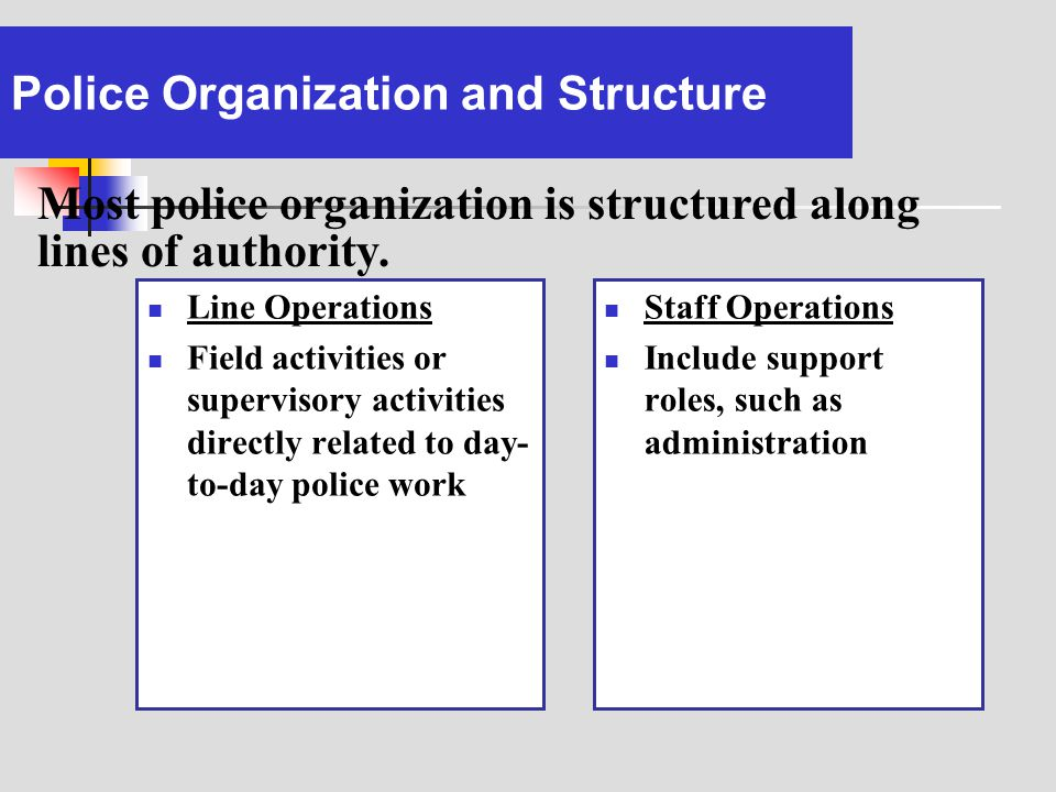 Police Organization and Structure
