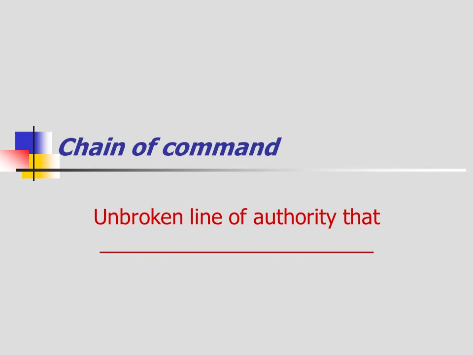 Unbroken line of authority that ________________________