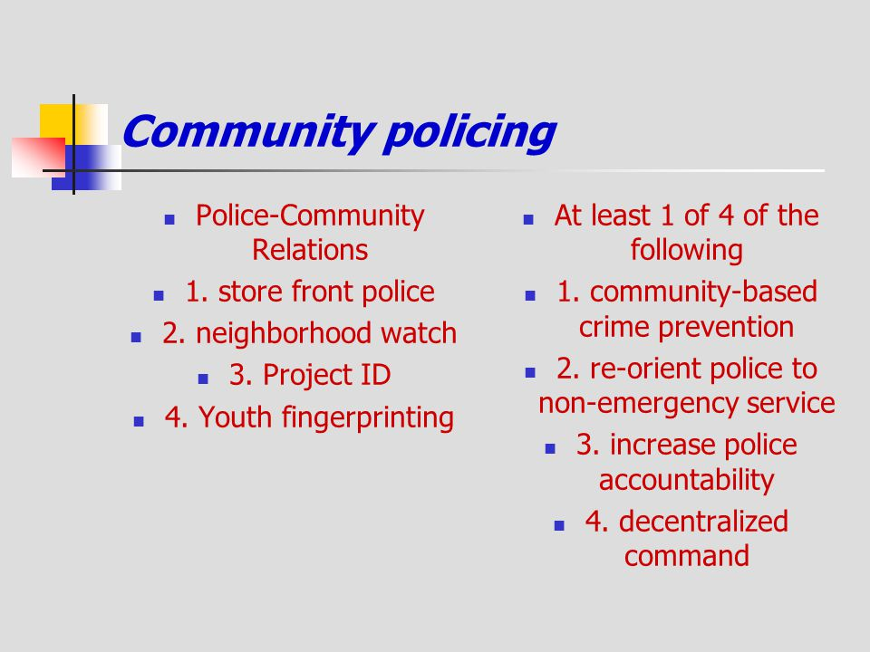 Community policing Police-Community Relations 1. store front police