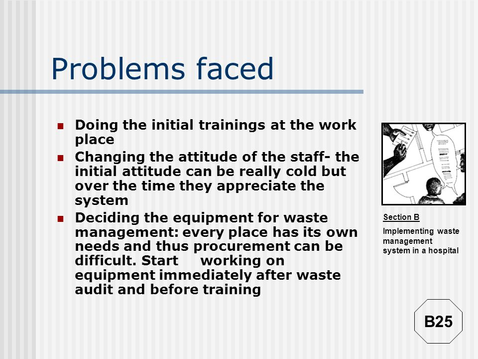 Problems faced B25 Doing the initial trainings at the work place