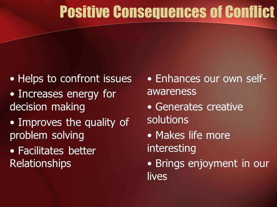 Negative Consequences of Conflict