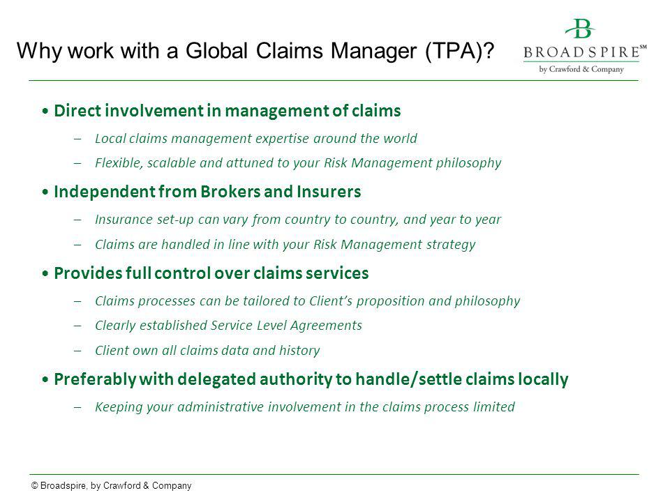 Why work with a Global Claims Manager (TPA)