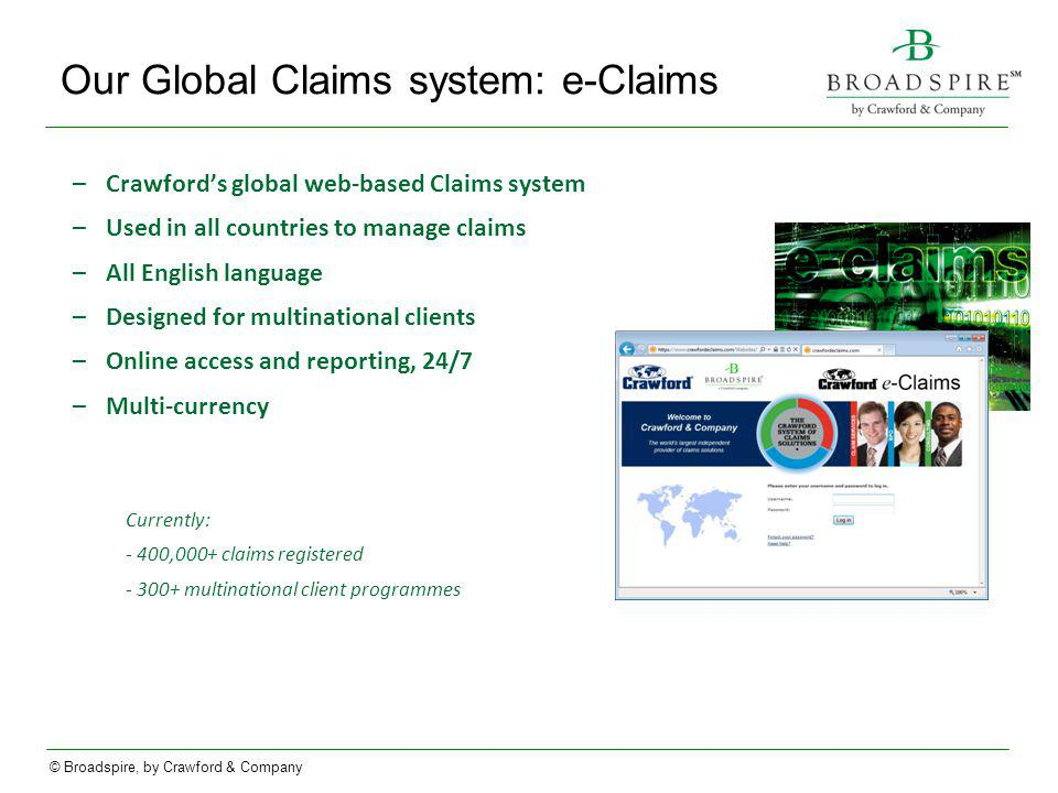 Our Global Claims system: e-Claims