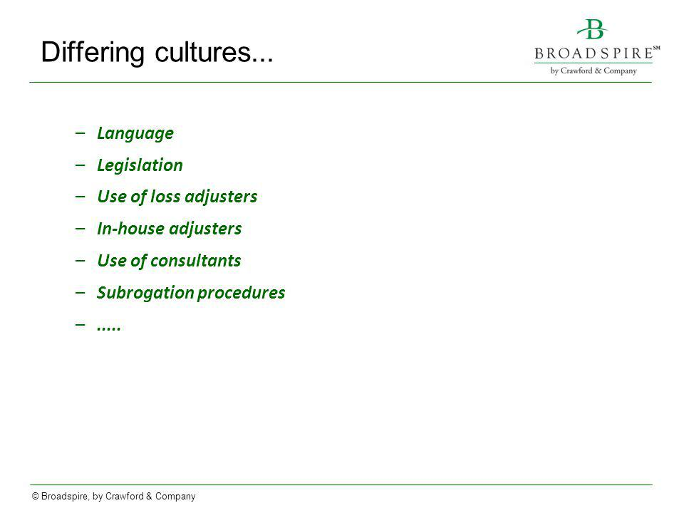 Differing cultures... Language Legislation Use of loss adjusters