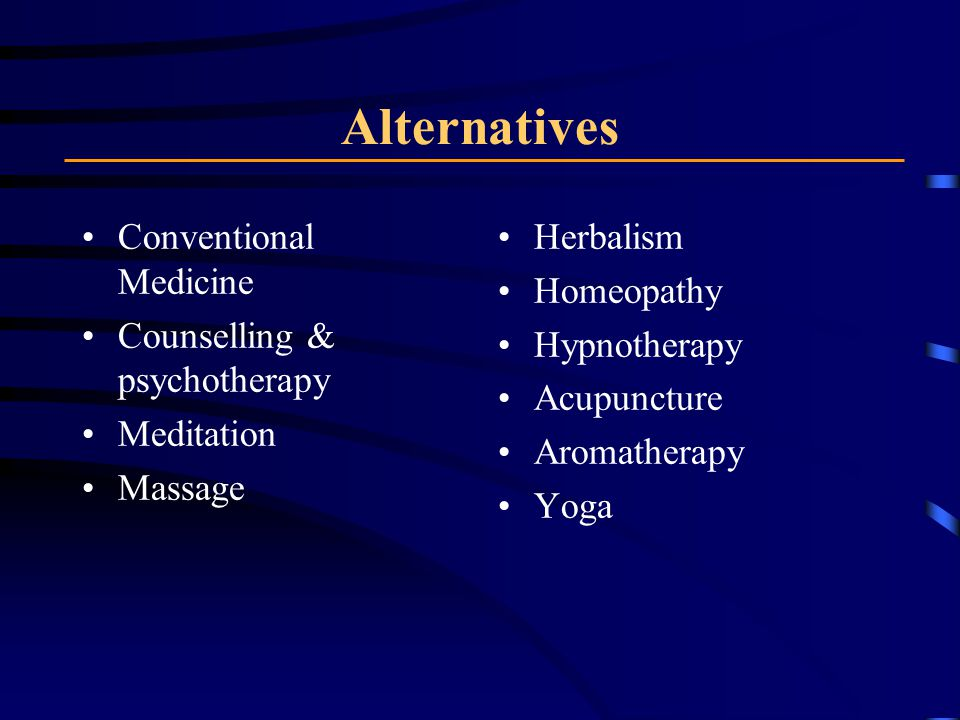 Alternatives Conventional Medicine Counselling & psychotherapy