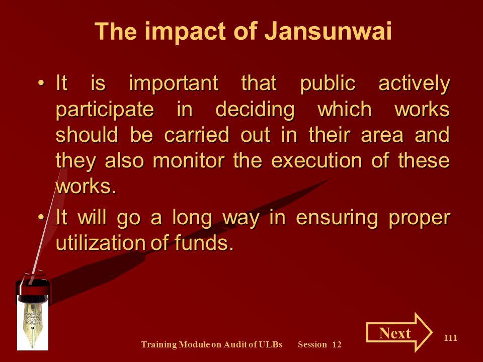 The impact of Jansunwai Training Module on Audit of ULBs Session 12