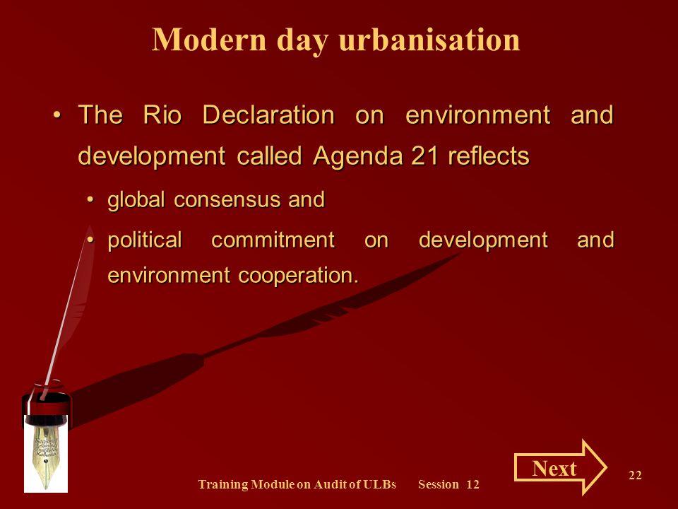 Modern day urbanisation