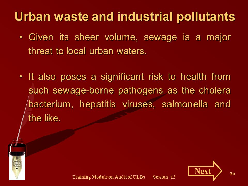 Urban waste and industrial pollutants