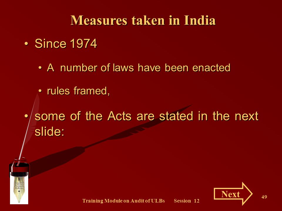 Measures taken in India Training Module on Audit of ULBs Session 12