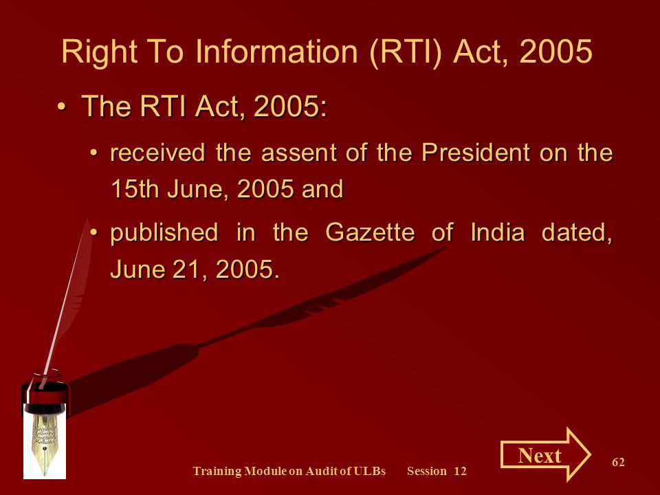 Right To Information (RTI) Act, 2005
