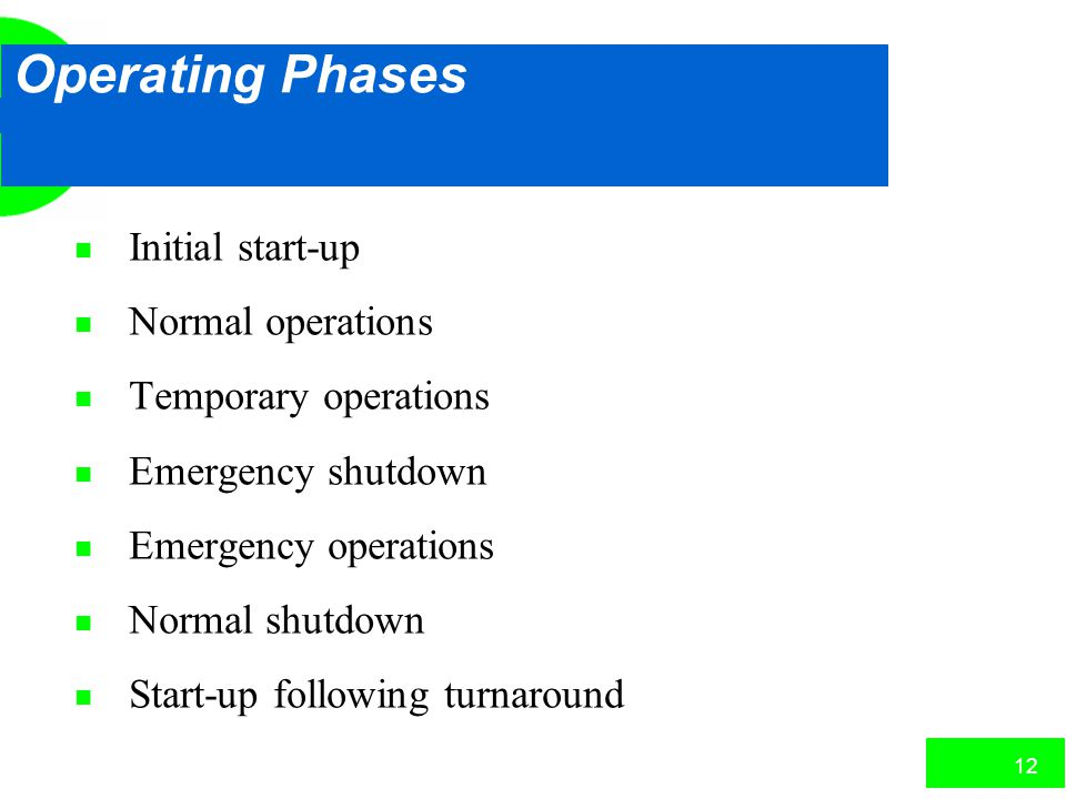 Operating Phases Initial start-up Normal operations