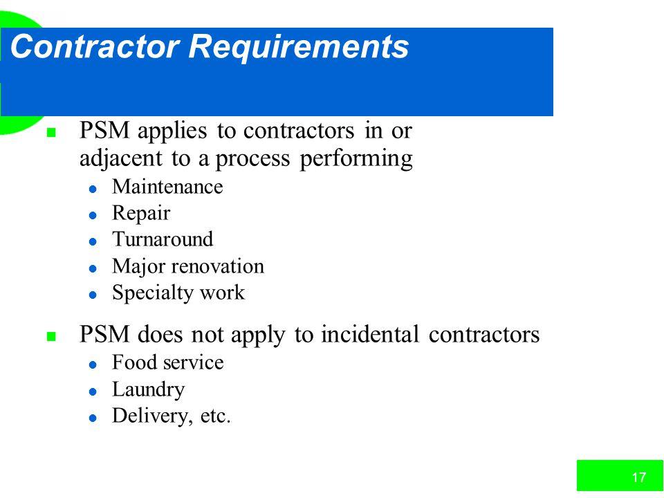 Contractor Requirements