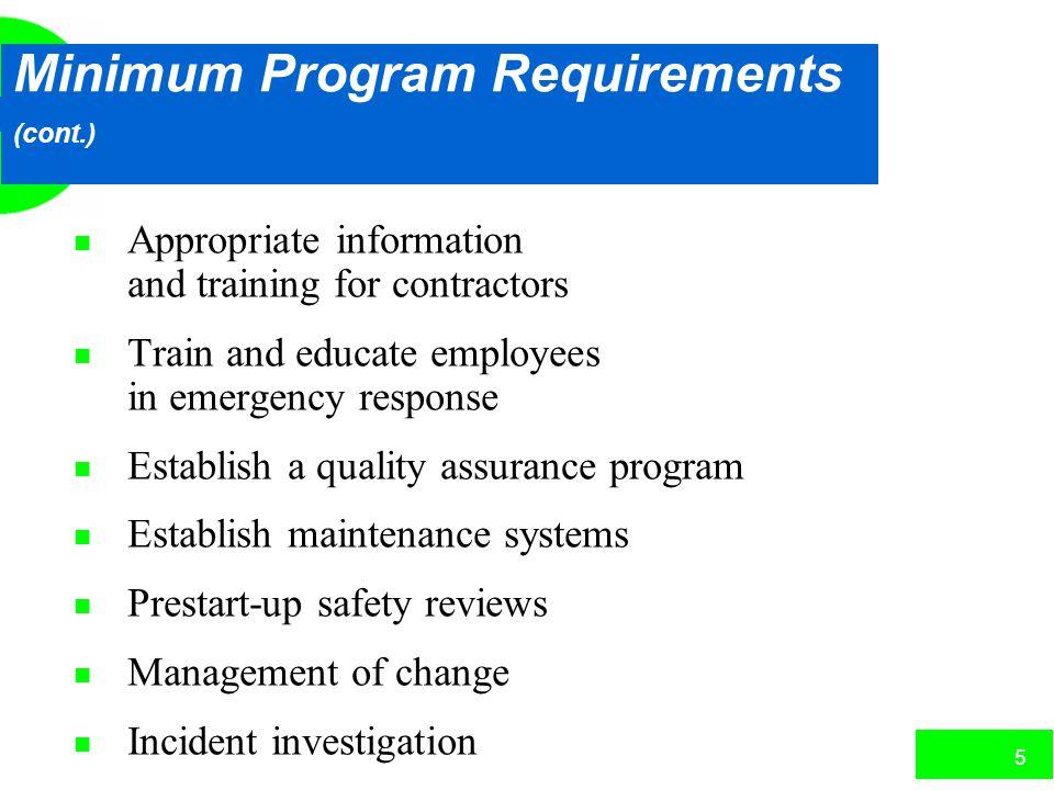 Minimum Program Requirements (cont.)
