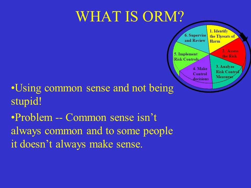 WHAT IS ORM Using common sense and not being stupid!