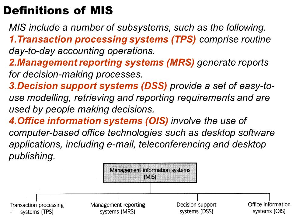 Definitions of MIS MIS include a number of subsystems, such as the following.