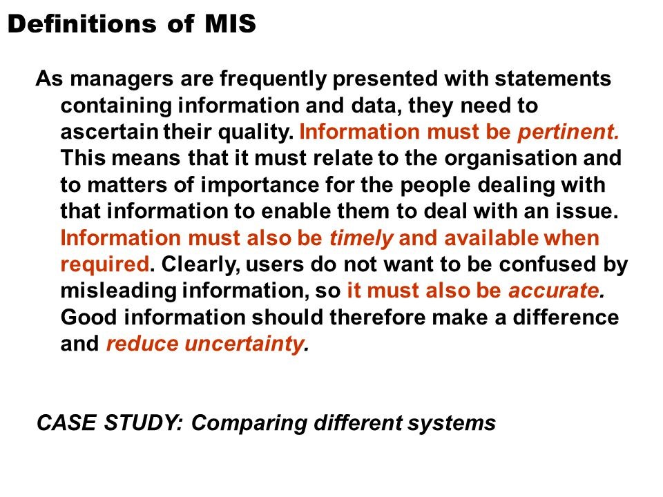 Definitions of MIS