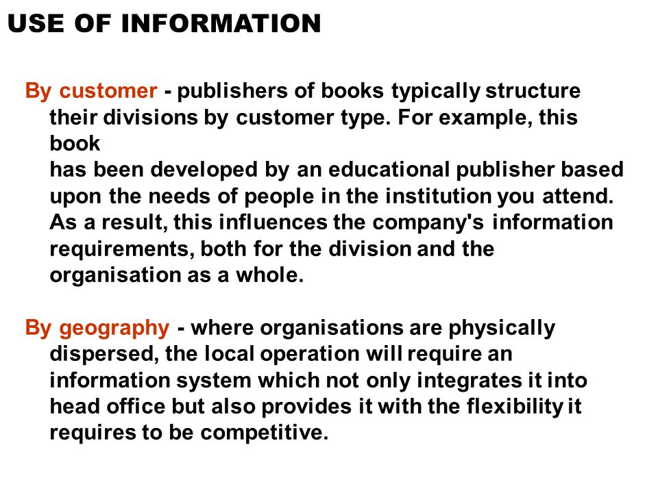 USE OF INFORMATION