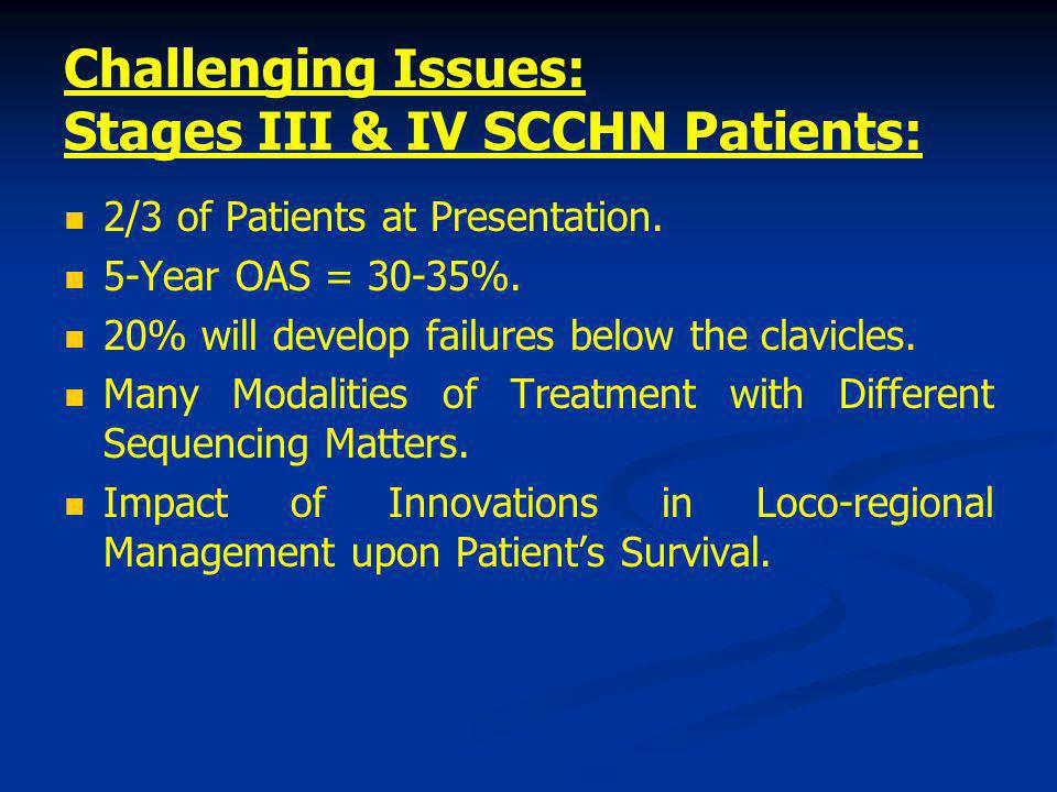 Challenging Issues: Stages III & IV SCCHN Patients: