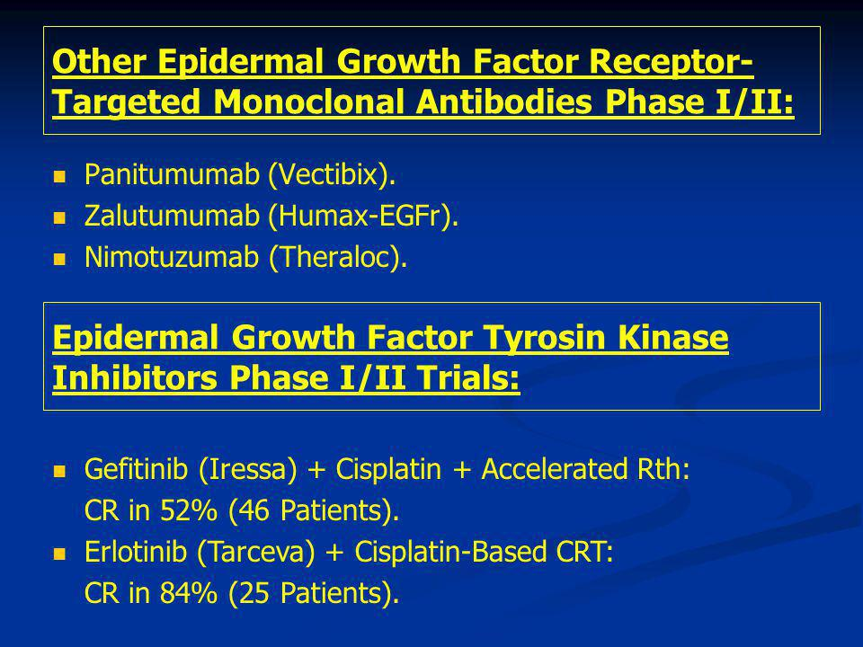 Epidermal Growth Factor Tyrosin Kinase Inhibitors Phase I/II Trials: