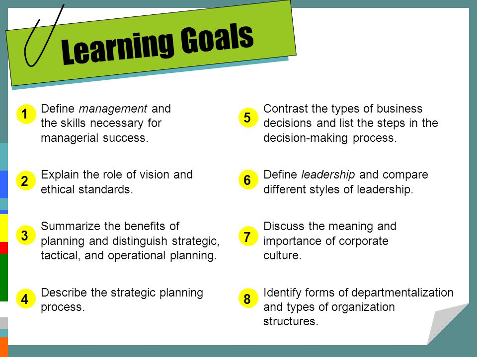 Learning Goals Define management and the skills necessary for managerial success. Explain the role of vision and ethical standards.
