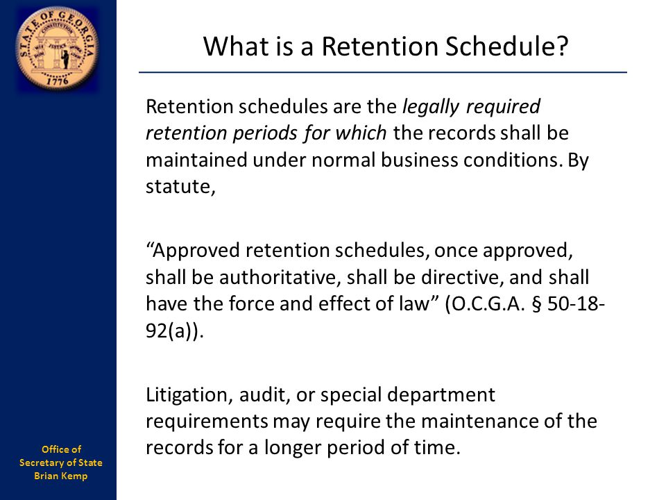 What is a Retention Schedule