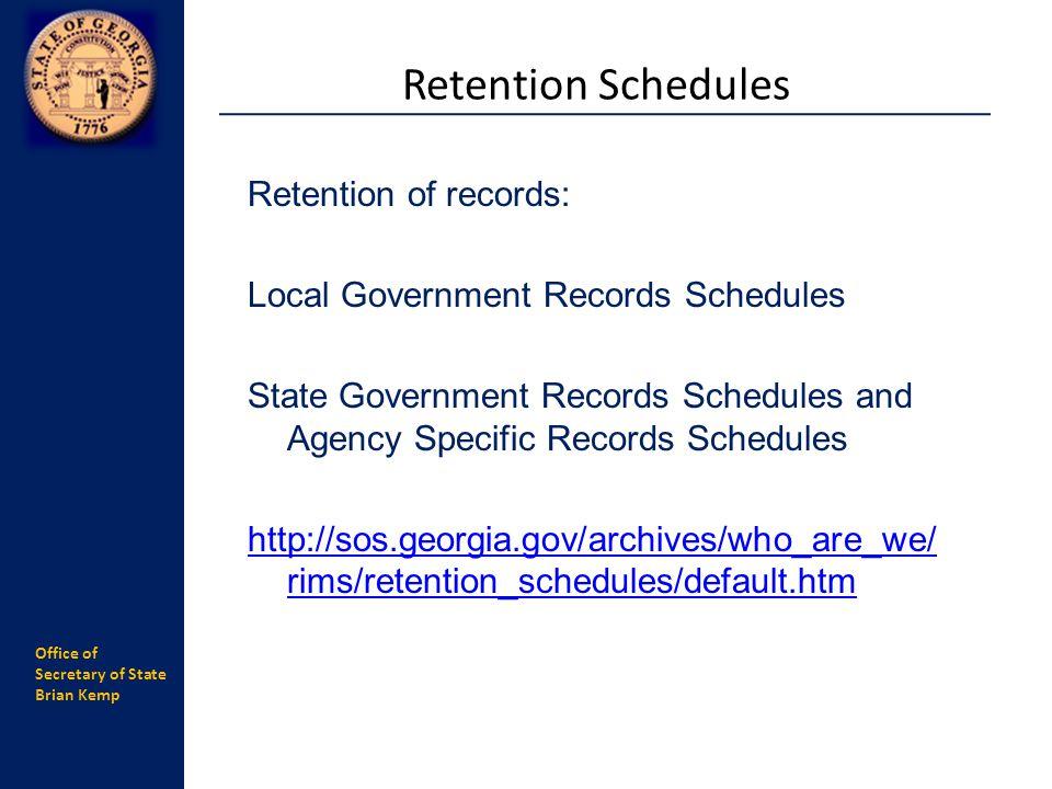 Retention Schedules