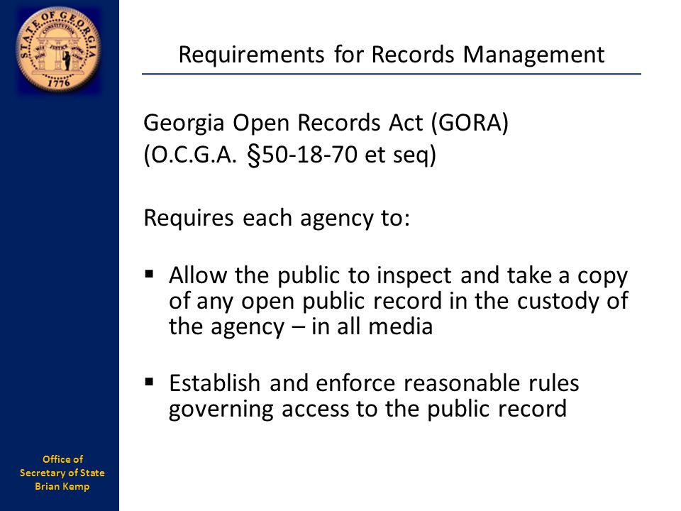 Requirements for Records Management