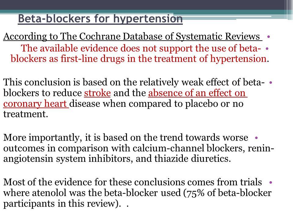 Beta-blockers for hypertension
