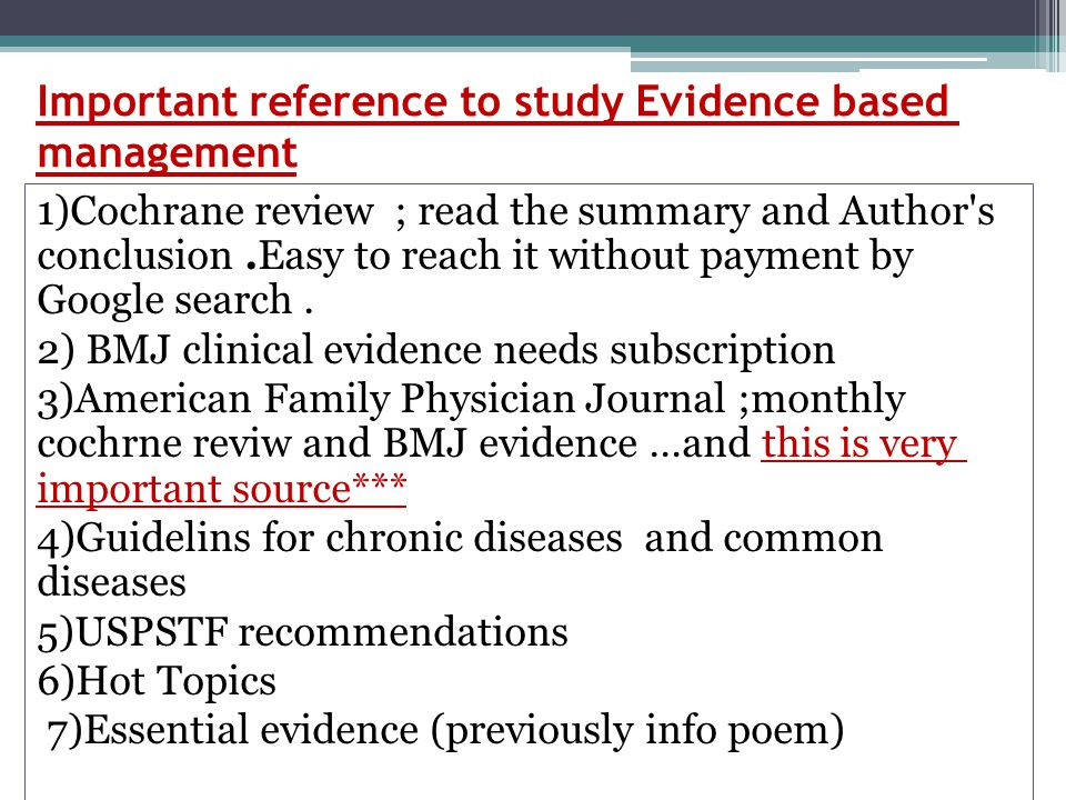 Important reference to study Evidence based management